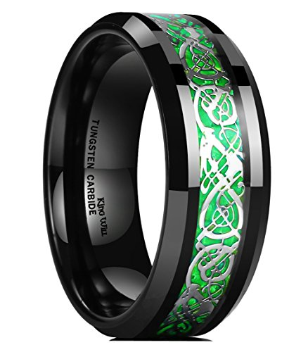 King Will DRAGON Men's 8mm Green Carbon Fiber Silver Celtic Dragon Tungsten Carbide Ring Comfort Fit Wedding Band 10