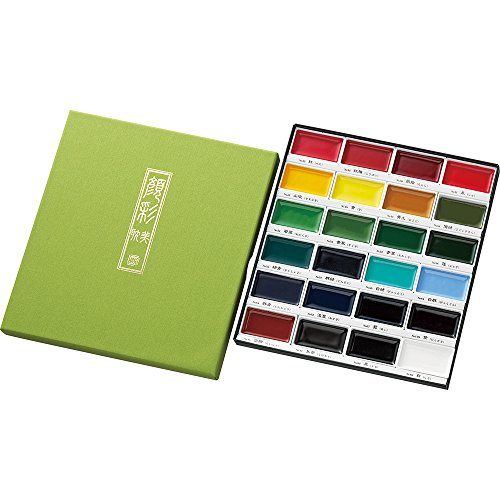 Kuretake GANSAI TAMBI Watercolor, Handcrafted, Professional-Quality Pigment Inks for Artists and Crafters, AP-Certified, Show up on Dark Papers, Made in Japan (24 Colors Set)