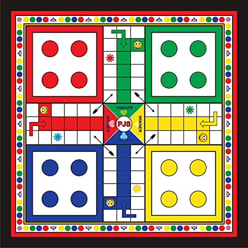 Exclusive Wooden Play Board Ludo & Snakes & Ladders Board Set with 2 Ludo Coins for Kids and Older Size 12 X 12 Inch with Corners