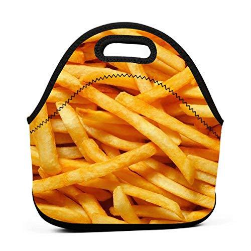 Neopreen Franse Fries Draagbare Lunch Bag Draagtas Tote met Rits Band Box Container Tassen Picknick Outdoor Reizen Modieuze Handtas Tas voor Vrouwen Mannen Kids Meisjes