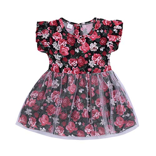 Sayla Ropa Bebe NiñA NiñO Invierno Camisetas Conjuntos Moda Floral PatróN Flores Mosca Manga Patchwork Princesa Vestidos