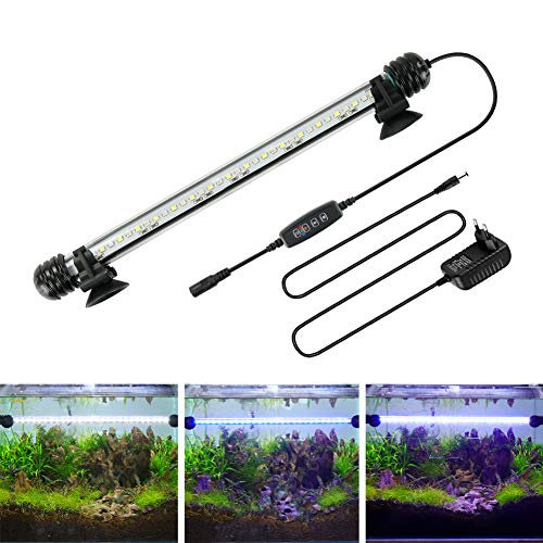 BELLALICHT LED Timer Aquarium Beleuchtung - Aquarien Lampe Weiß Blau Licht mit eingebautem Timer Dimmer, Dimmbar 10 Helligkeitsstufen IP67 Wasserdicht Light für Fisch Tank Pflanze