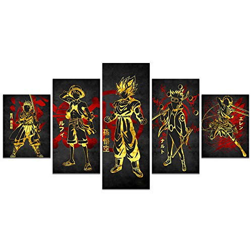 Japanese Anime One Piece Naruto Demon Slayer Poster Luffy Eren Tanjirou HD Print on Canvas Painting Wall Art for Living Room Decor Boy Gift (Unframed, Luffy01)