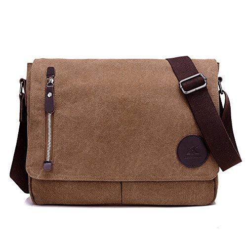 Nlyefa Herren Umhängetasche Canvas Messenger Bag Collegetasche 13,3 Zoll Schultertasche Kuriertasche Bürotaschen männer, EINWEG (Braun)