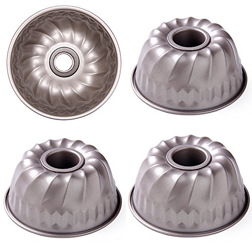 LUFEIYA Mini Bundt Pan 4 Inch Nonstick Carbon Steel for Instant Pot Kugelhopf Mold Flute Flan Baking Cake Pans Small Set of 4