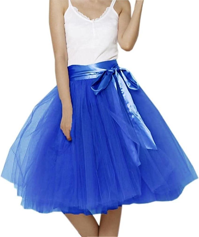 Women's XL Long Skirt, A-line Short Skirt, Tulle Long Skirt, Tulle Wedding Dress, Tulle Dress (Color : Dusty Blue, Size : Small)