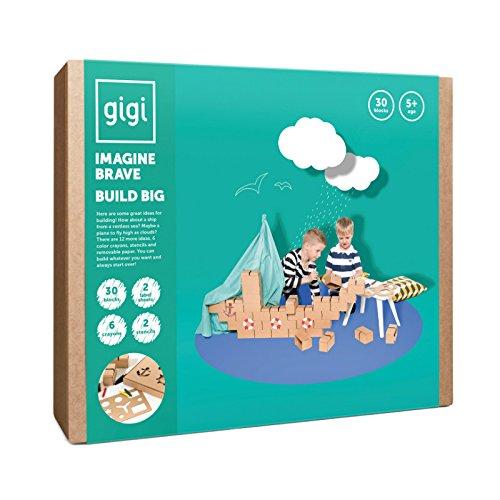 GIGI Bloks Set de Regalo Bloques de Construcción Gigantes de Cartón, Puzzle de Avión y Barco con 30 Ladrillos Apilables XL, Plantillas, Pinturas y Pegatinas, Juegos de Habilidad para Niños