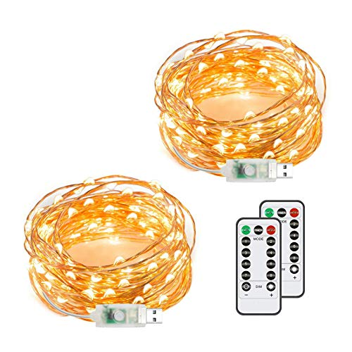 Chalpr USB Fairy String Lights, 2 Pack 50 LED 16.4Ft Led String Lights, Warm White Firefly USB Plug in Starry Lights with Remote,Waterproof Copper Wire Decorative Fairy Lights for Valentines Day