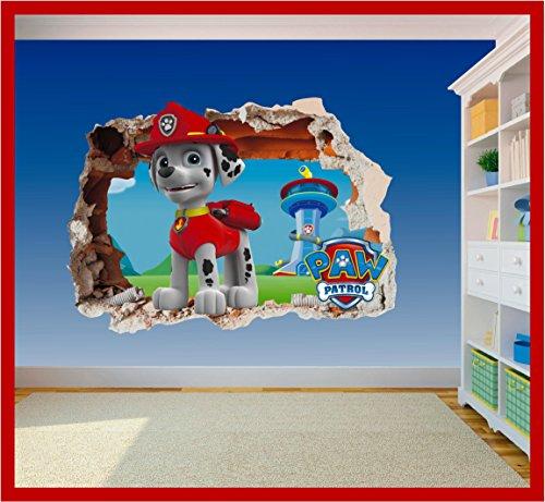 Paw Patrol Marshall Hole in Wall – Autocollant en vinyle imprimé chien pour chambre d'enfant (600 x 425 mm)