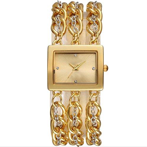 YXMAHW Reloj Pulsera De Moda De La Personalidad Señorita Colmillo Xing Shi Ying Reloj De La Aleación Relojes De Puntero,Gold-OneSize