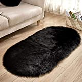 Baijinbai Alfombra suave para salón, piel sintética, lana, ovalada, para dormitorio, alfombra mullida, para niños, chorros, alfombra de juegos, decoración del hogar (negro, 40 x 60 cm)