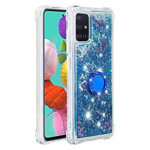 Coque pour Samsung Galaxy A51,Brillante Cristal Diamant Anneau Socle de téléphone Liquide Dégradé Transparente Silicone TPU Étui Antichoc Coques(Amour Bleu)