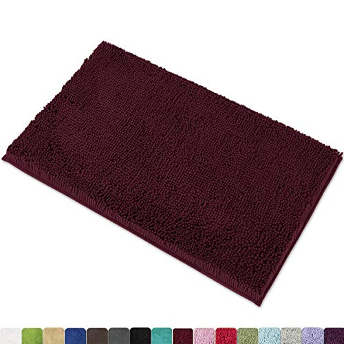 MAYSHINE 20x32 Inches Non-Slip Bathroom Rug Shag Shower Mat Machine Washable Bath Mats with Water Absorbent Soft Microfibers of Burgundy