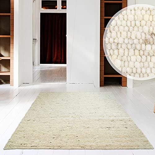 Hand-Web-Teppich | Reine Schur-Wolle im Skandinavischen Design | Wohnzimmer Esszimmer Schlafzimmer Flur Läufer | Grau Beige (Sand - 200 x 290 cm)