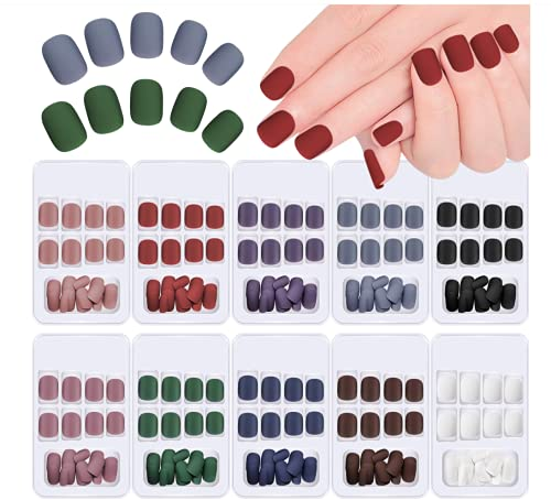 Kalolary 240 Stk Falsche Nägel zum Aufkleben Künstliche Fingernägel Selbstklebend Kunstnägel Künstliche Falsche Nail Tips Fake Nail zum Aufkleben für Damen Mädchen mit Klebepads DIY Nagelspitzen
