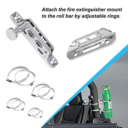 Sulokiy Chrome Quick Release Fire Extinguisher Mount Roll Bar Extinguisher Mount Fit For Jeep Wrangler UTV Polaris RZR Ranger Can-Am Maverick ATV