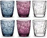 Trinkgläser Diamant Bunt 6er Set Wassergläser Farben 300 ml spülmaschinenfest Trinkgläser Blau Violett Transparent