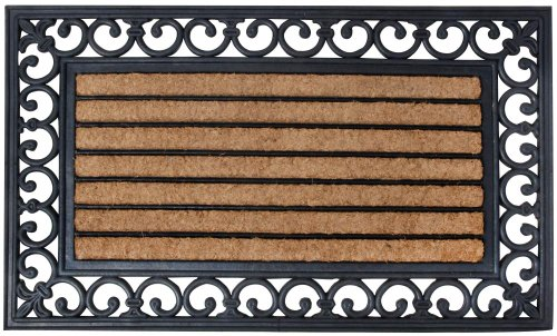 Esschert Design Schmutzfangmatte, Fußmatte in schwarz aus Gummi, mit Kokos-Einlage, rechteckig, ca. 76 cm x 45 cm