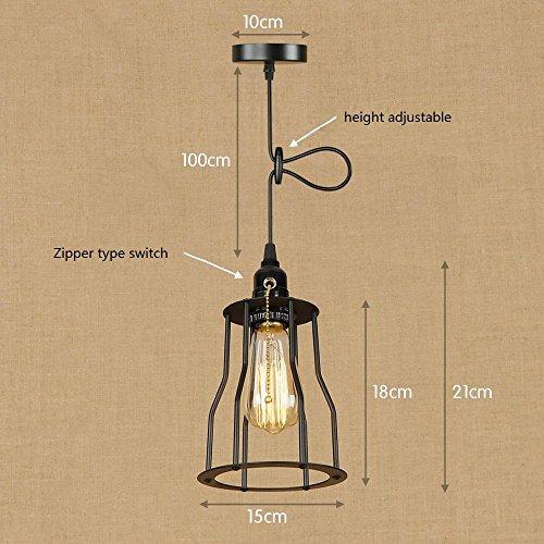 OOFAY Lampe Suspension Lustre Cage en fer Abat-jour avec Douille Eclairage de Plafond Style Industrielle Vintage Retro(avec ampoule à fil de tungstène), U