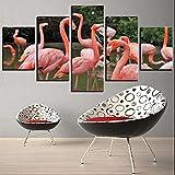 MPPSU Fondo Animal Flamenco Rosado 5 Paneles Impresión HD Cuadros Decoracion Dormitorios Salon Modernos 150Cm×80Cm con Marco