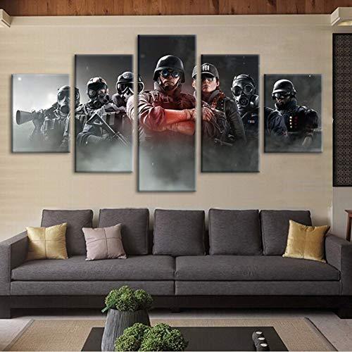 Leinwand Malerei Regenbogen Sechs Zeichen 5 Stück HD Print Poster Belagerung Gemälde Wohnzimmer Home Decoration RahmenlosSize1