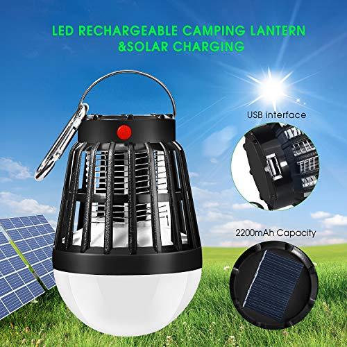 ShinePick Lampe Anti Moustique Électrique,Moustiques Killer Lampe Camping Lampe Portable UV LED Tue Mouches Lampe avec 2200mAh Batterie Rechargeable, Anti Insectes Exterieur en Intérieur