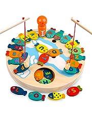 Sheia Jouet de Jeu de pêche en Bois magnétique pour Tout-Petits garçons Filles Jouets d'apprentissage