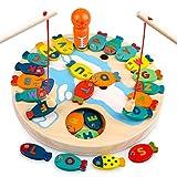 Sheia Jouet d'apprentissage pour Enfant en Bas âge 2 3 4, Cadeau éducatif préscolaire pour 2-5 Ans garçon Filles Jeu de pêche en Alphabet magnétique en Bois pour Enfants de 3 à 6 Ans Jouet Montessori