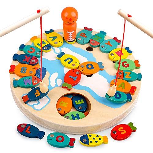 Sheia Lernspielzeug für Kleinkinder Alter 2 3 4, Vorschul-Bildungsgeschenk für 2-5-Jährige Kinder Jungen Mädchen Magnetisches Holzalphabet-Angelspiel für Kinder Alter 3-6 Montessori-Spielzeug
