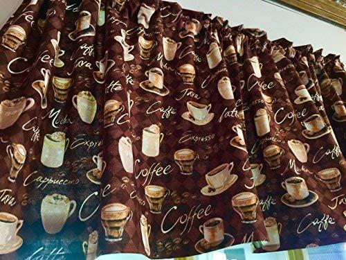 "Chocolate Brown Coffee Window Valance 43"" W x 15"" L Java Mocha Cappuccino Cotton Curtain Topper"