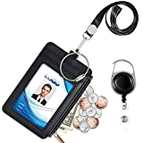 Badge Holder with Zipper, Life-Mate PU Leather ID Badge Card Holder Wallet Case with 5 Card Slots, 1 Side Zipper Pocket & 19' Polyester Neck Lanyard and Heavy Duty Metal Retractable Badge Reel (black)