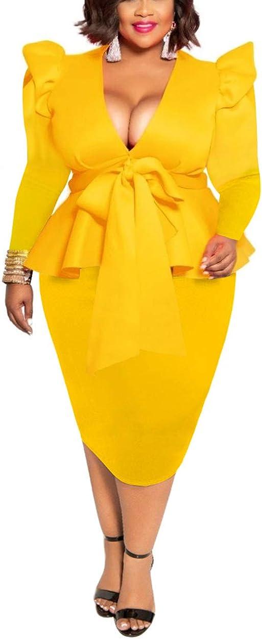 IyMoo Womens Plus Size Ruffle Long Sleeve Peplum Bow Tie Cocktail Party Pencil Midi Dress