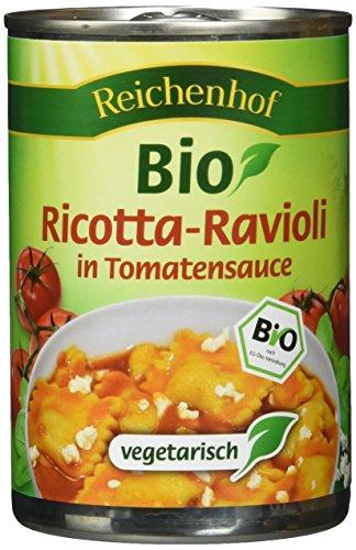 Reichenhof Bio Ricotta Ravioli in Tomatensauce - vegetarisches Fertiggericht, 6er Pack (6 x 400 g)