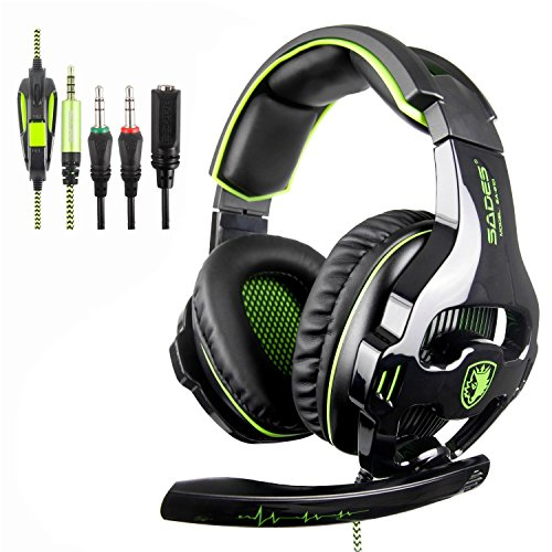 Sades Stereo Gaming Headsets for New Xbox One,PS4 Noise Cancelling Over Ear Headphones with Mic, Bass Surround,Soft Memory Earmuffs for PC Laptop Mac Mobile (Black and Green)