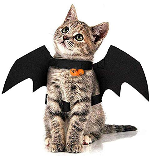 sus Alas de Murciélago para Mascotas de Halloween, con 2 Campanas, Disfraz para Gatos, Ropa para Disfraces de Mascotas de Halloween, para Cachorro, Perro, Gato