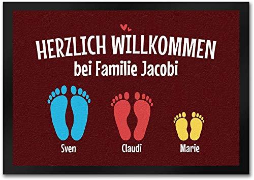 trendaffe - Herzlich Willkommen Fußmatte personalisiert mit deinem Namen