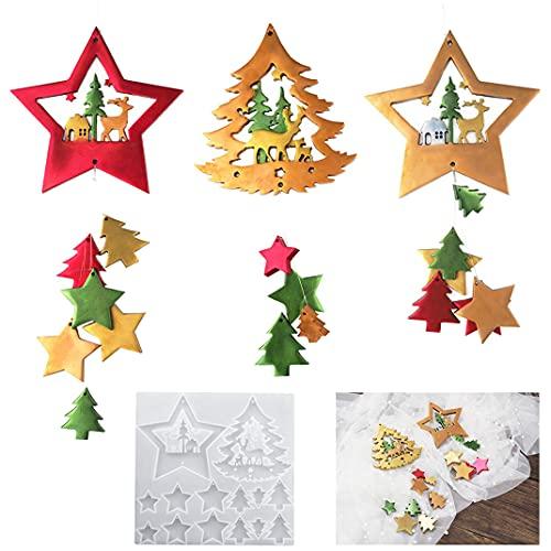 DIYBravo Moldes de silicona de resina de Navidad con diseño de estrellas, árboles, renos, con agujero para colgar, para hacer manualidades, fiestas, decoración del coche, hogar, hilo elástico incluido