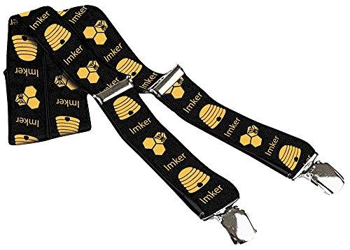 Hosenträger mit Print - Imker Biene Wabe - 06557 schwarz