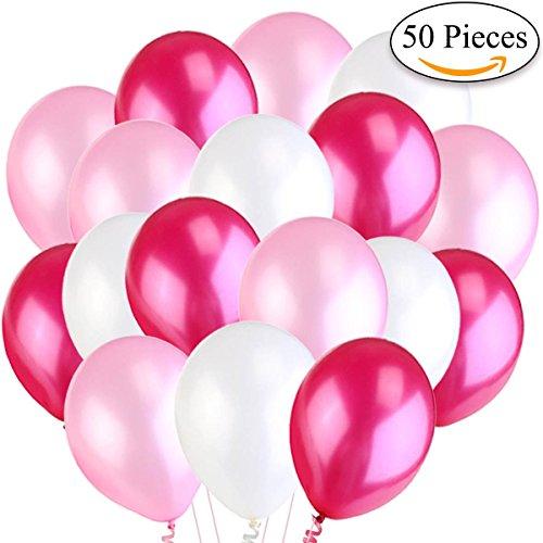 Jonami 50 Luftballons Rosa Weiß Fuchsie Ballon Premiumqualität Ø ca. 36 cm / 14' Partyballon Pink 3,2g. Deko / Dekoration fur Geburstag ,...