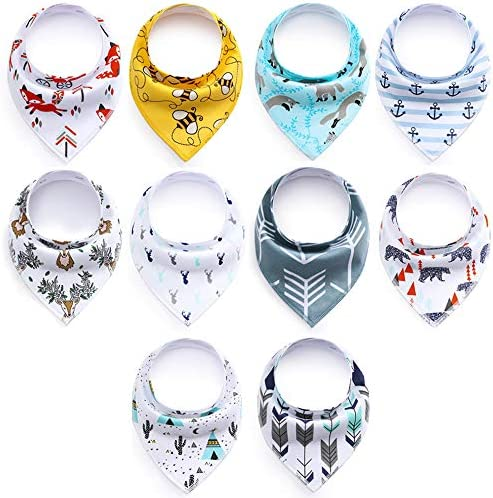 Baby Bibs 10 Pack Soft and Absorbent for Boys Girls Baby Bandana Drool Bibs product image