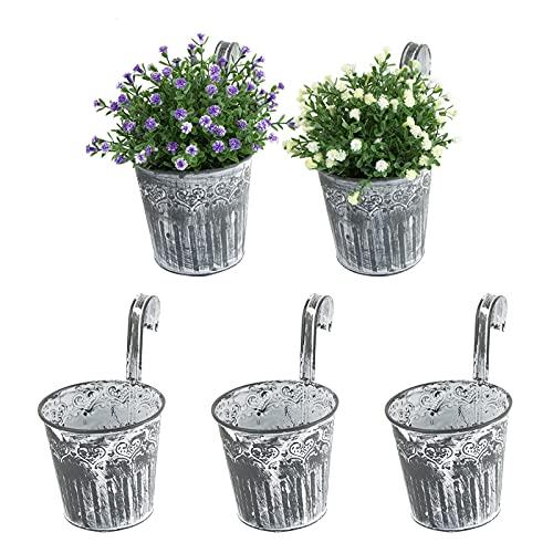 5 STK. Balkon Hängetöpfe für Pflanzen Blumen Hängetopf Kräuter Metall Balkontopf Balkon Pflanztopf Hängend Blumentopf mit Haken Fenster