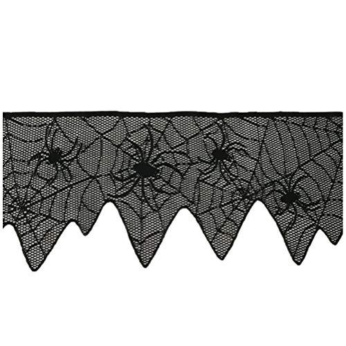 ABOOFAN Halloween Encaje ventana cortina araña Web puerta cortina panel decoración para espeluznante Halloween fiesta decoración (negro) Halloween- Dekorationen