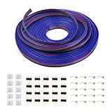 iCreating 100ft 4 Pin RGB Extension Cable Wire Cord for 5050 3528 Color Changing Flexible LED Strip Light with 10x Gapless LED Strip Connectors, 20x LED Strip Clips, 20x 4 Pin Male to Male Connector