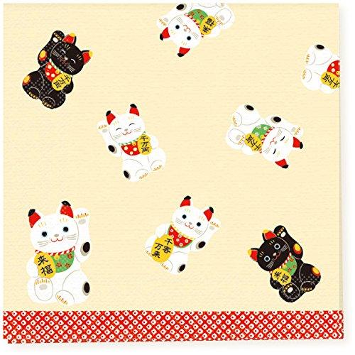 Traditionele Japanse patroon serie papieren doek, servet, pak van 10 - Japan import - grote golf van Kanagawa Mount Fuji Ukiyo-e met karper PNK-041Black & White Maneki Neko Gelukkige katten PNK-045