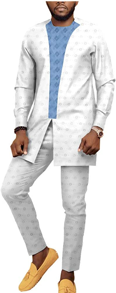African Traditional Set for Men Dashiki Shirts and Ankara Pants 2 Piece Suit Tribal Jacquard Fabric Outfits Crop Top Casual