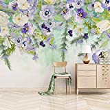 Qqasd Mural Wall Paper Wall Art Pintura al óleo pintada a mano Floral Dormitorio Sala de estar Sofá TV Fondo-200X140CM