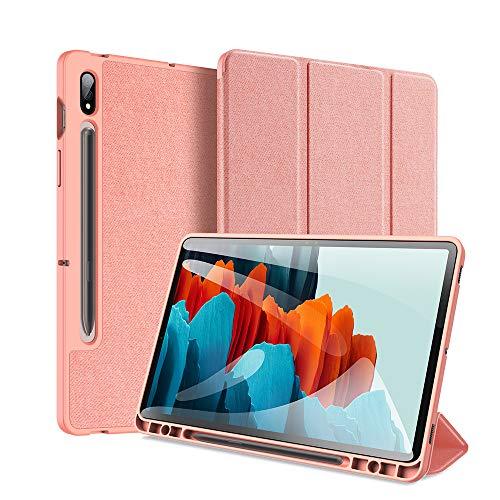 GANGXUN Funda magnética para Samsung Galaxy Tab S7 Plus/S7+ de 12,4'2020,parte trasera inteligente ultradelgada, con soporte triple con activación/suspensión automática para,rosa
