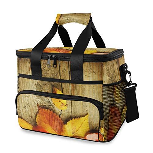 Picknick herfstblad over hout geel school draagbare koelbox ijszak schouderriem lunch tas