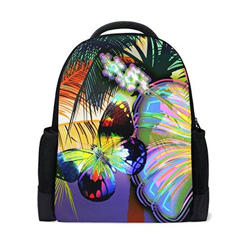 LIANCHENYI Sac à dos en mosaïque Papillons et fleurs arc-en-ciel Personnalisé Casual Sac à dos d'école Sac à dos de voyage