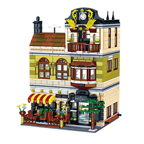 BGOOD Bausteine Haus Bausatz, Zhe Gao QL0937, 1326 Klemmbausteine Modular Rom Restaurants mit Figuren, Architektur Häuser Modell Kompatibel mit Lego